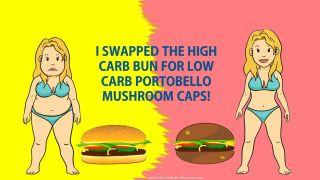low carb lifestyle - portobello mushroom caps instead of burger buns