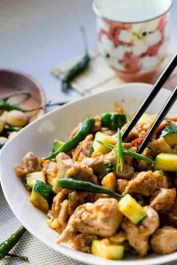 keto Kung Pao Chicken w/ Macadamia Nuts Stir Fry cover
