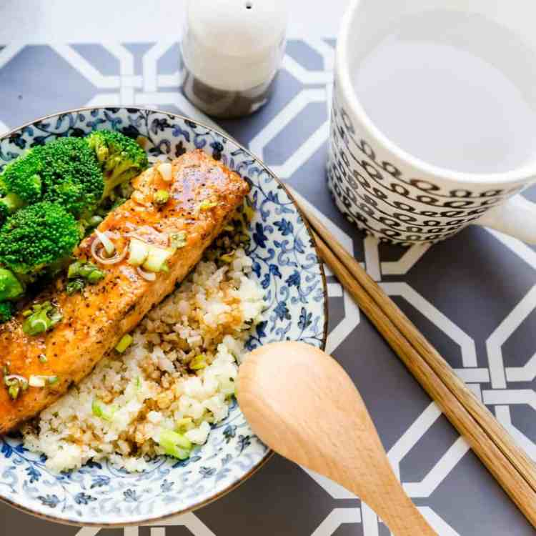 keto Teriyaki Salmon Bowl with Cauliflower Rice pic