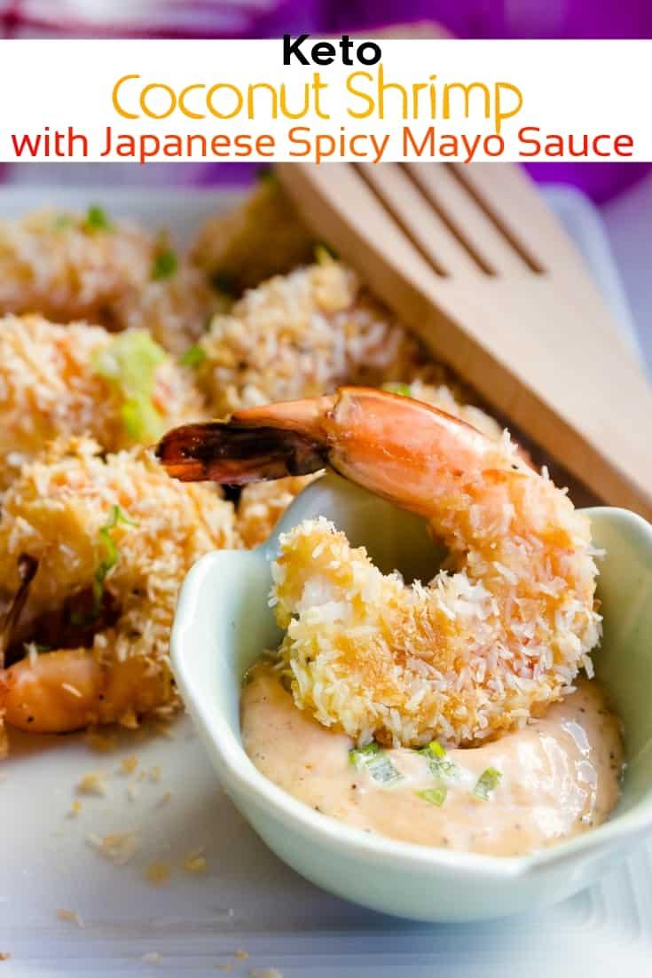 keto Coconut Shrimp with Japanese Spicy Mayo Sauce pin 1