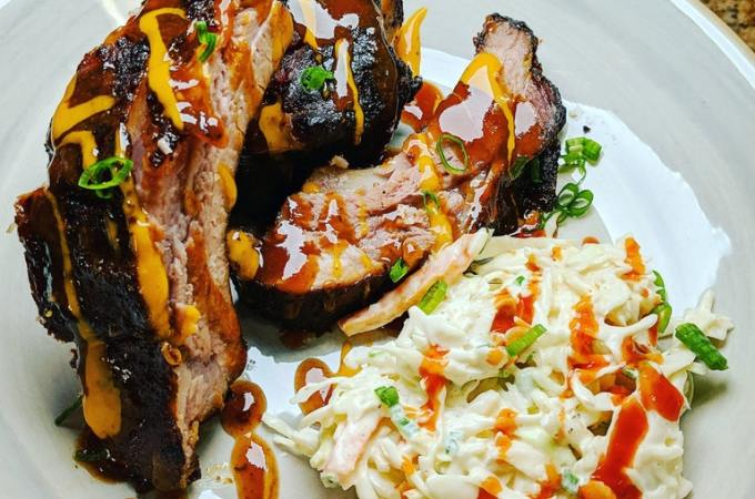 Smoked Baby Back Ribs and Coleslaw!