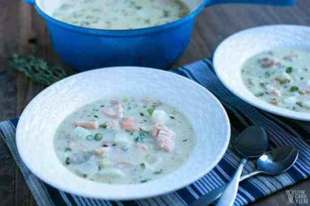 Easy paleo salmon chowder with coconut milk