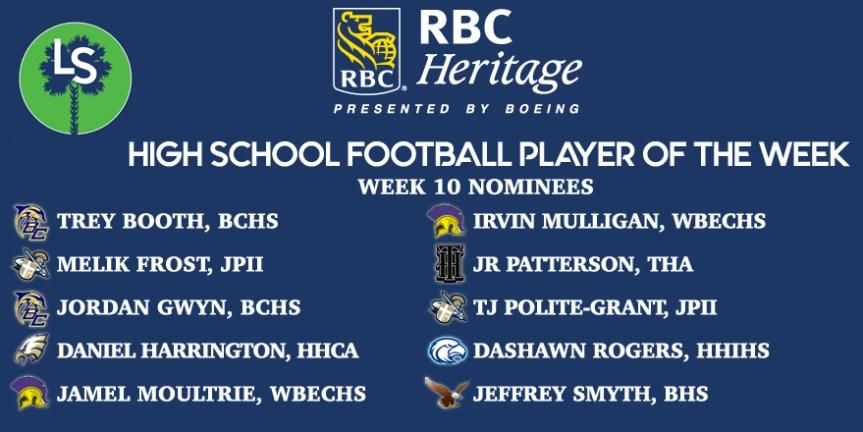 VOTE NOW! Week 10 RBC Heritage HSFB Player of the Week