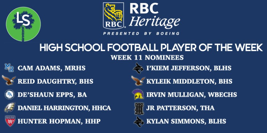VOTE NOW! Week 11 RBC Heritage HSFB Player of the Week