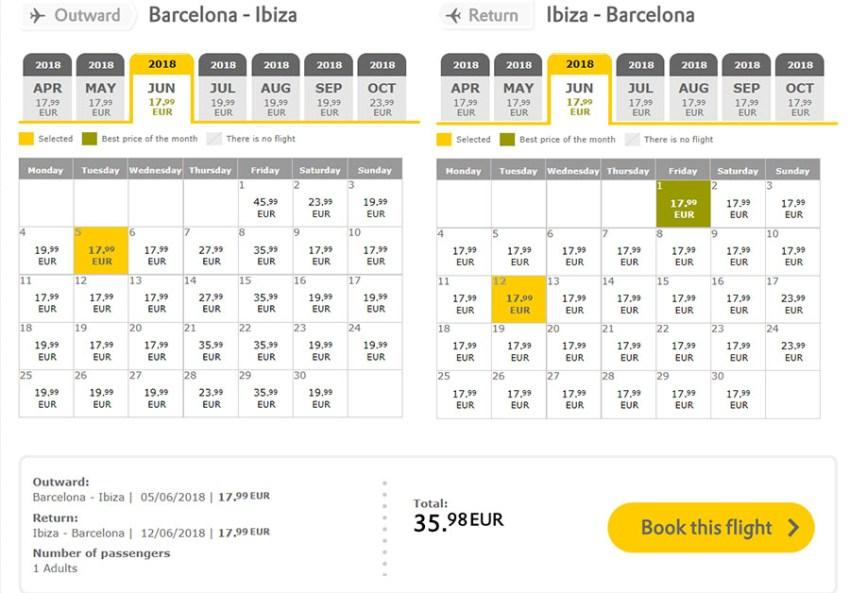Бронювання авіаквитків Барселона - Ібіца - Барселона на сайті Vueling