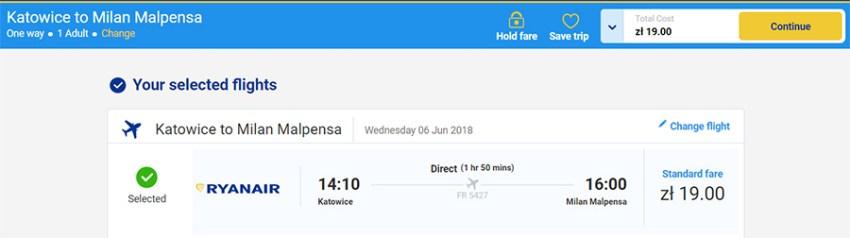 Переліт Катовіце - Мілан-Мальпенса за 4.5€ (19 zl)
