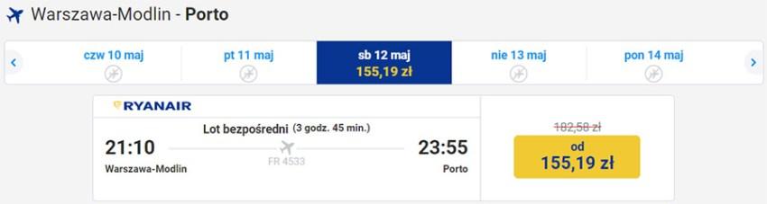 Авіаквитки Варшава - Порту на сайті Ryanair зі знижкою