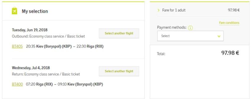 Авіаквитки Київ - Рига - Київ: