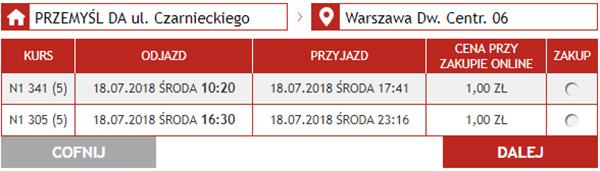 Бронювання автобусних квитків Перемишль - Варшава на сайті Neobus
