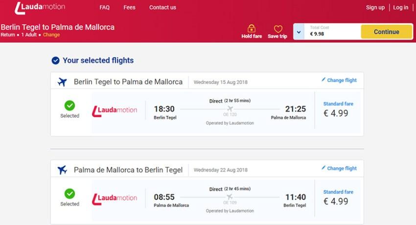 Авіаквитки Берлін - Пальма-де-Майорка - Берлін сайті Lauda Motion (Ryanair)
