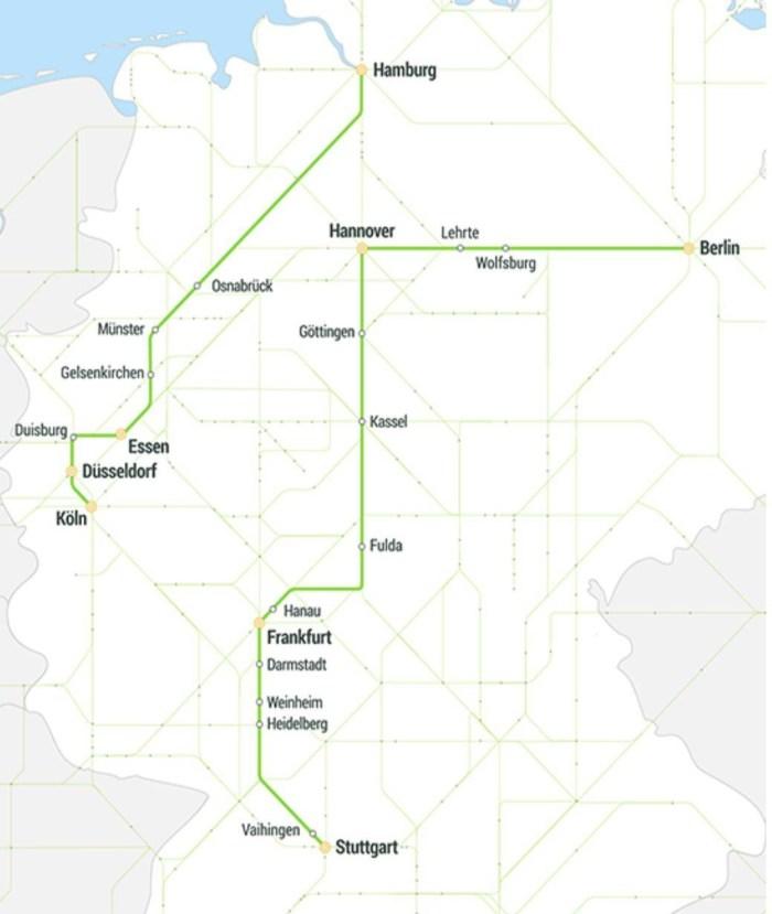Схема маршрутів FlixTrain