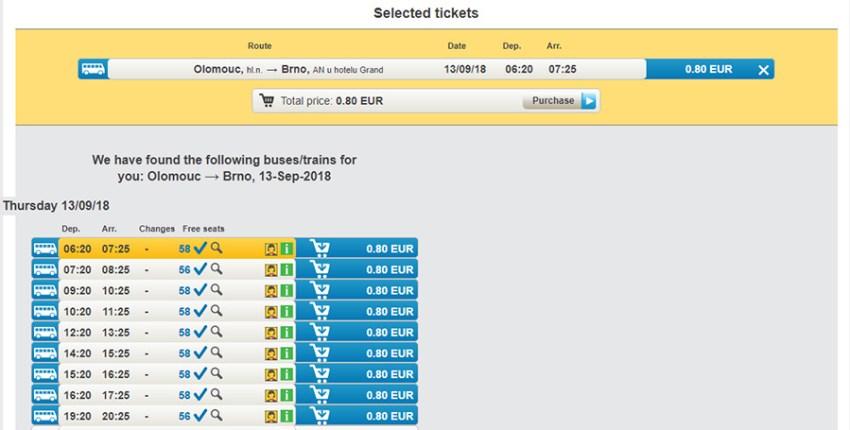 Приклад бронювання автобусних квитків Брно - Оломоуць: