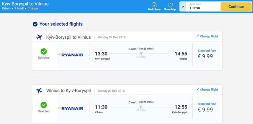 Авіаквитки Київ - Вільнюс - Київ