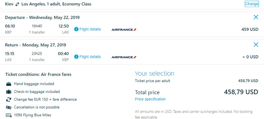Авіаквитки Київ - Лос-Анджелес - Київ на сайті KLM