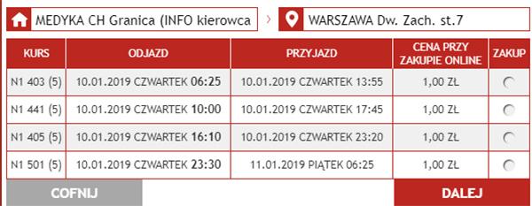 Приклад бронювання автобусних квитків Медика - Варшава