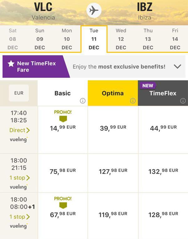 Авіаквитки Валенсія - Ібіца в мобільному додатку Vueling: