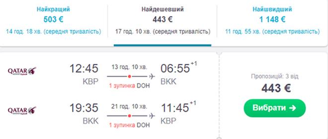 Приклад бронювання перельоту Київ - Бангкок - Київ на сайті Sky Scanner