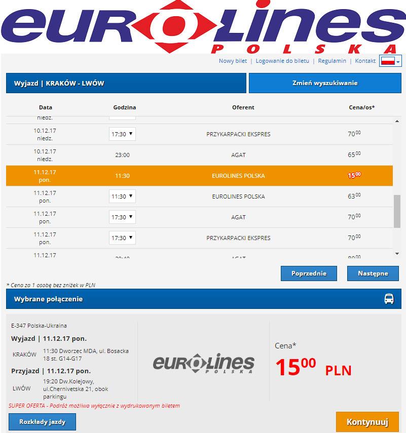 Приклад бронювання Краків - Львів на сайті Eurolines