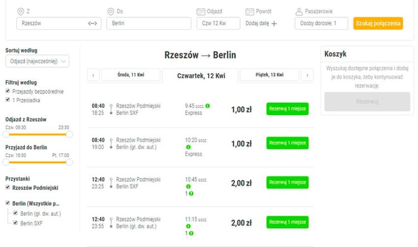 Автобусні квитки Жешув (Ряшів)- Берлін з мінімальною ціною