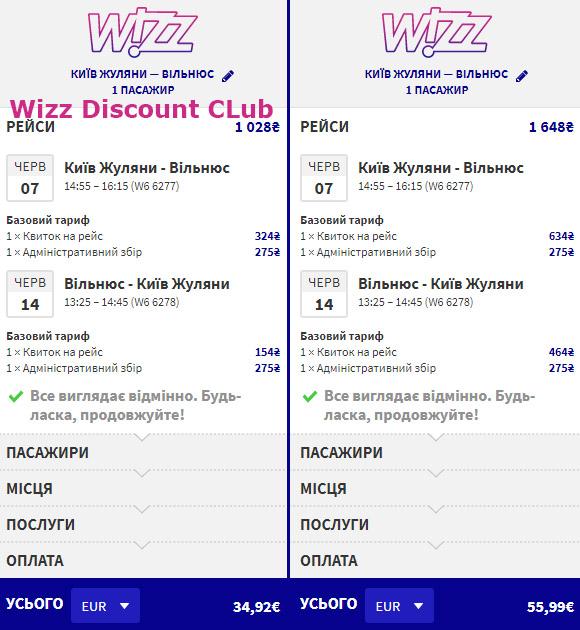 Приклад бронювання перельоту Київ - Вільнюс - Київ на сайті Wizz Air
