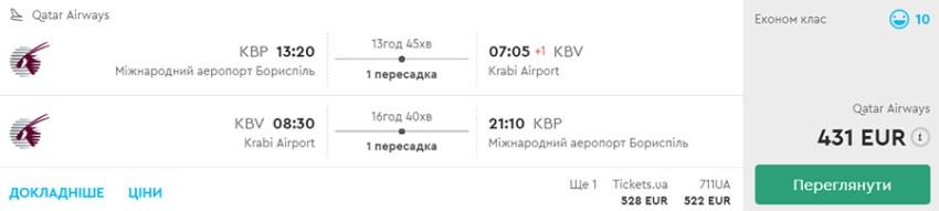 """Авіаквитки із Києва в Крабі """"туди-назад"""" на сайті Momondo.ua"""