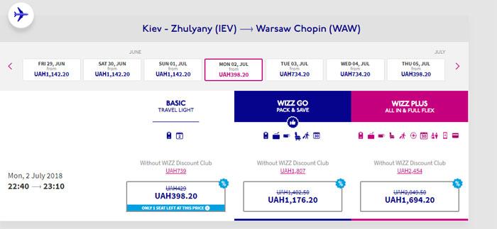 Приклад бронювання квитків Київ - Варшава