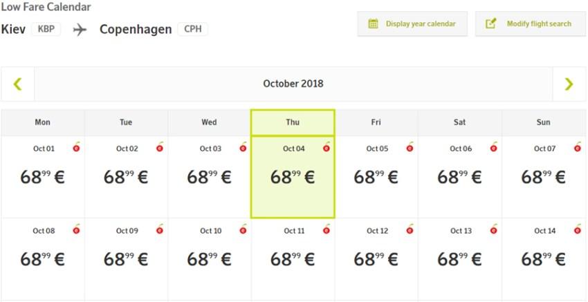 Календар цін на переліт Київ - Копенгаген