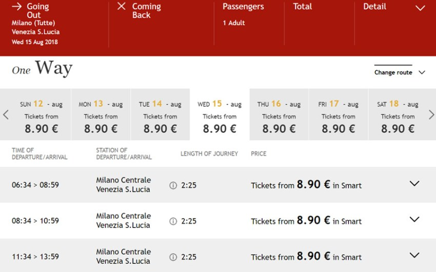 Квитки на потяг Мілан - Венція зі знижкою