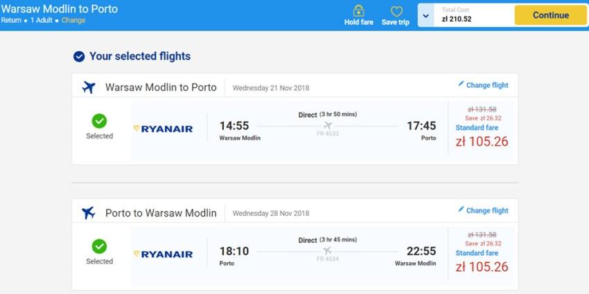 Приклад бронювання перельоту Варшава - Порту - Варшава на сайті Ryanair: