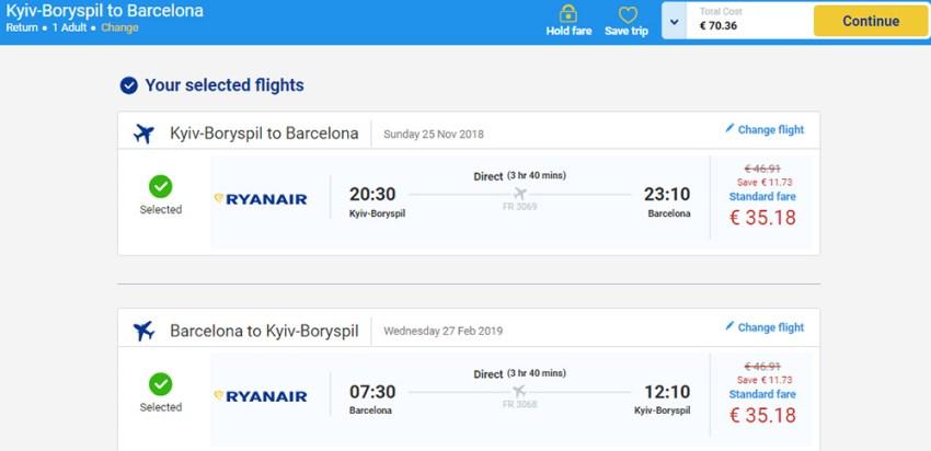 Бронювання авіаквитків Київ - Барселона - Київ на сайті Ryanair