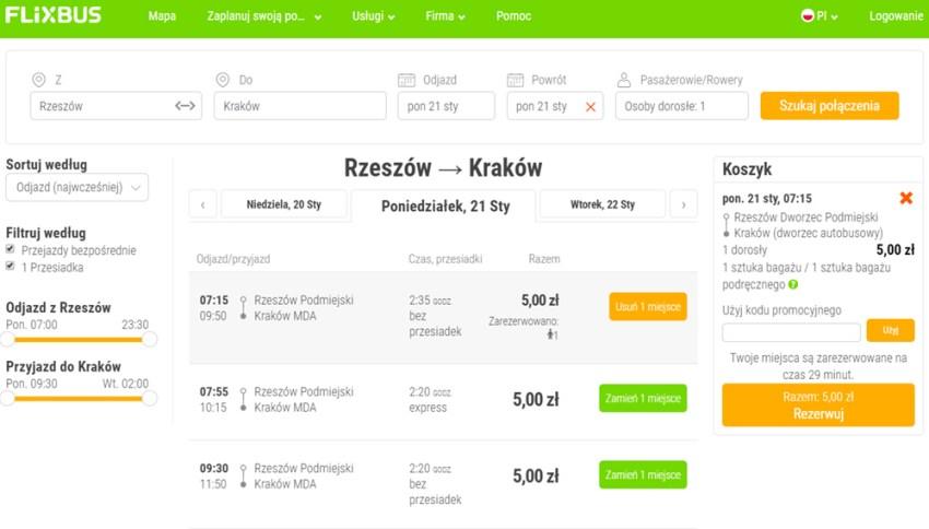 Приклад бронювання квитків Ряшів - Краків на сайті FlixBus