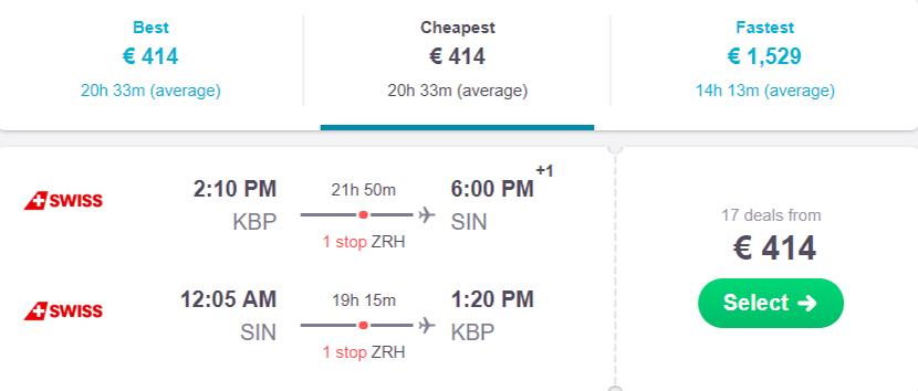 Приклад бронювання квитків Київ - Сінгапур - Київ на сайті Skyscanner: