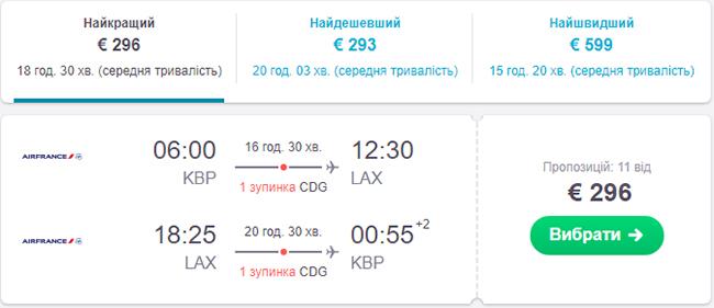 Авіаквитки Київ - Лос-Анджелес - Київ в серпні - вересні