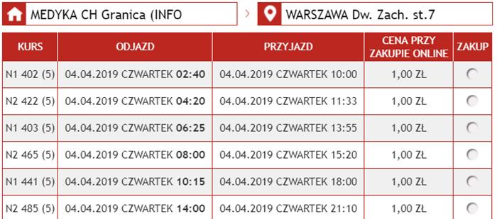 Автобусні квитки Медика - Варшава: