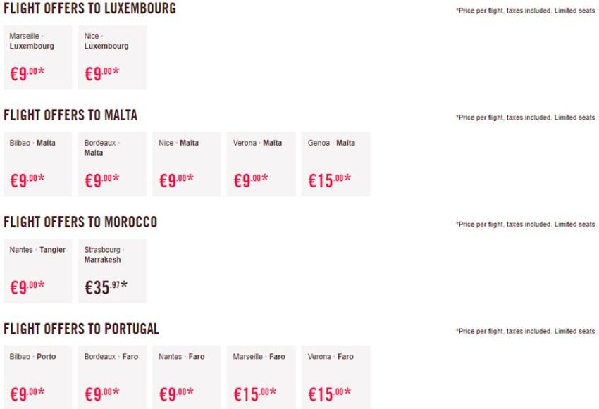 Дешеві авіаквитки в Люксембург, Марокко, Португалію та на Мальту