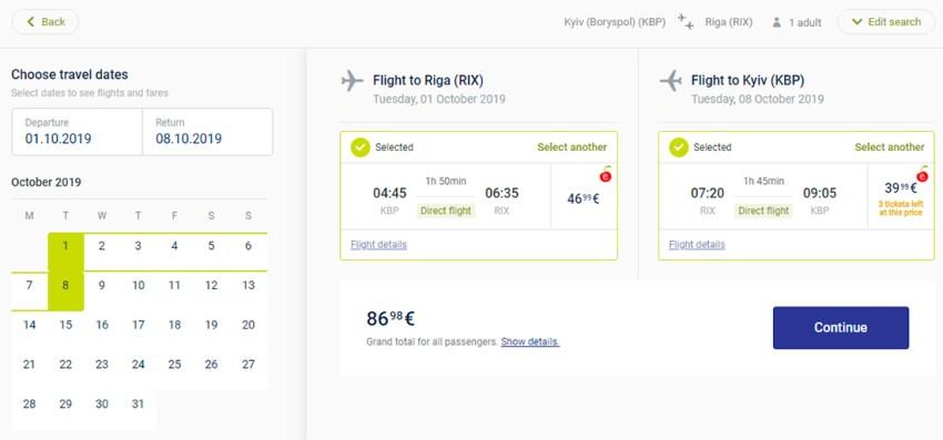 Лоукост-авіаквитки Київ - Рига - Київ на сайті airBaltic