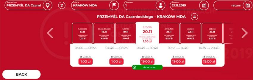 Автобусні квитки з Перемишля в Краків за 1 zl