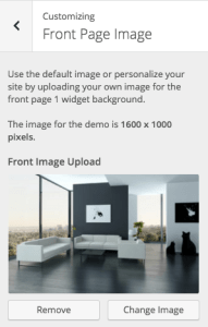 theme customizer for front page image