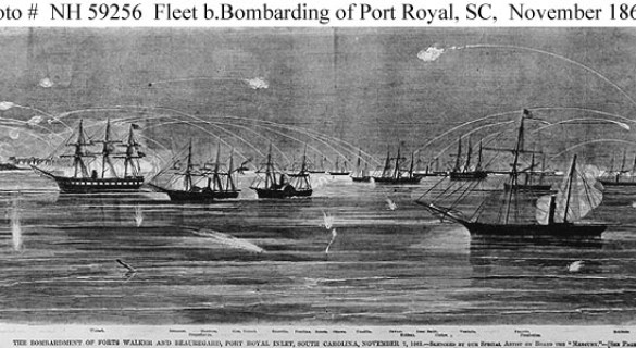 "Detail from ""Bombardment and Capture of Port Royal, SC 7 November 1861"""