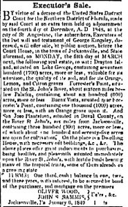 Advertisement for Sale of Drayton Island, 1849