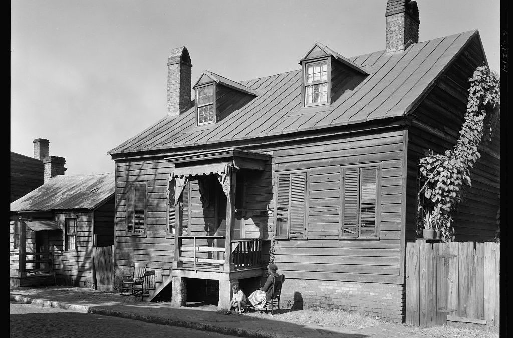 Ancestors Seated in Yard of 312 Gaston Street, Savannah, GA, 1939 or 1944