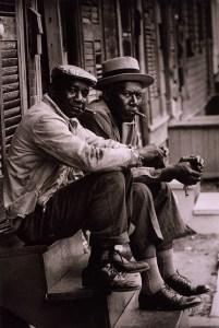 Two-African-American-men-sitting-on-stoop-Charleston-SC