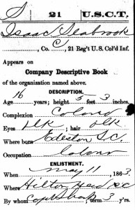 Isaac Seabrook USCT Compiled Military Record Detail