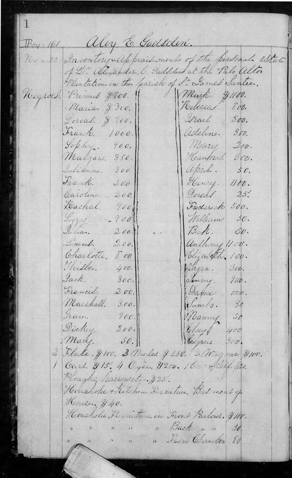 Gadsden Alex Est Inv Palo Alto Plantation Book G (1864-67) P1