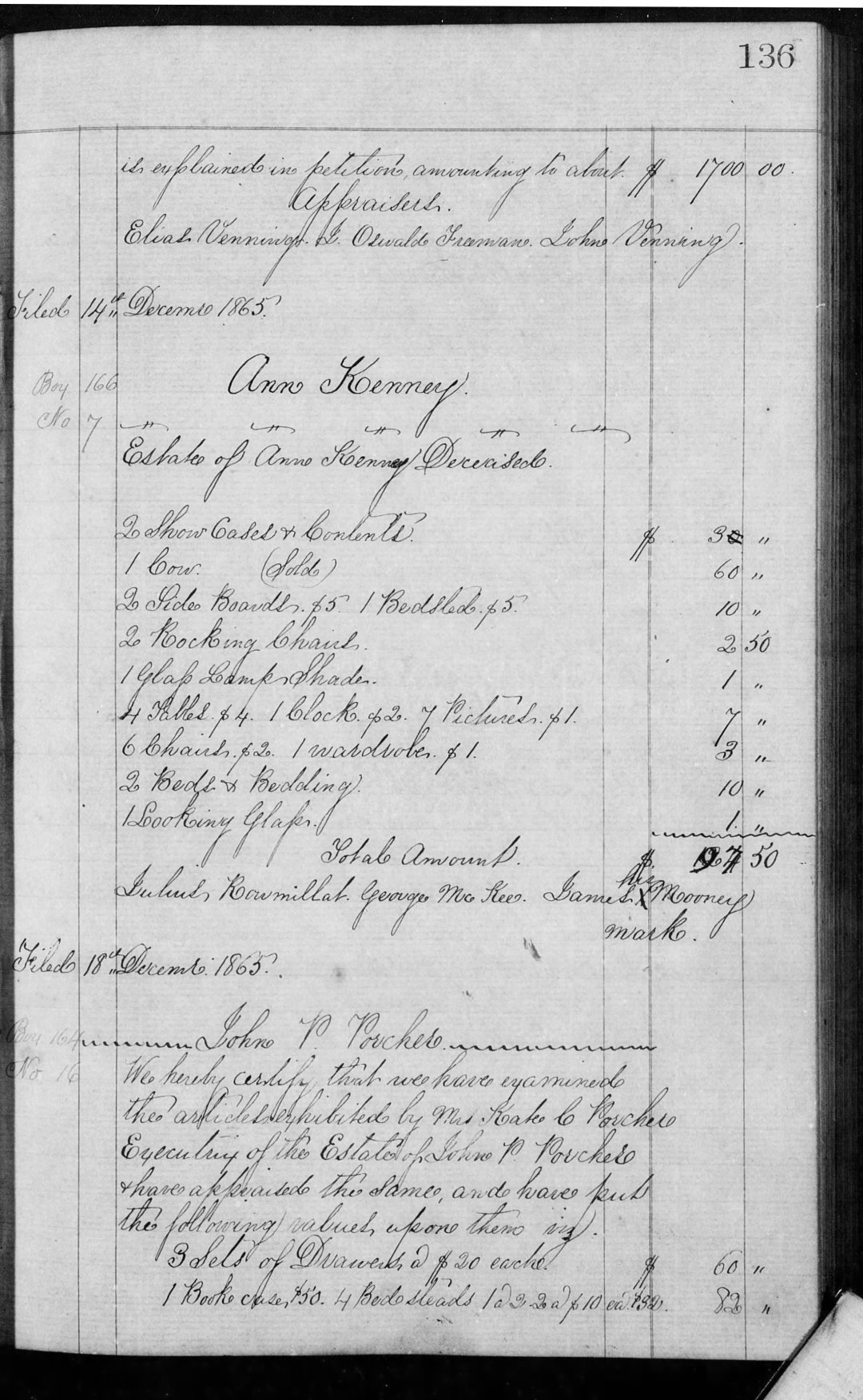 Porcher John P Est Inv Book G (1864-67) p136