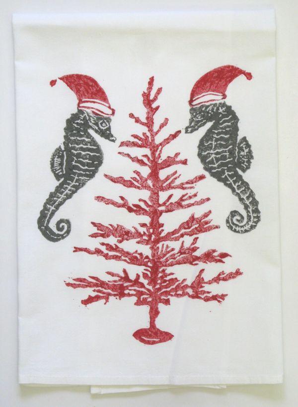 coral tree red grey towel