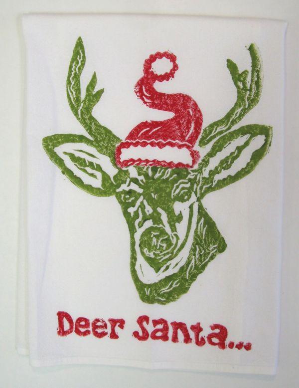 deer santa green towel