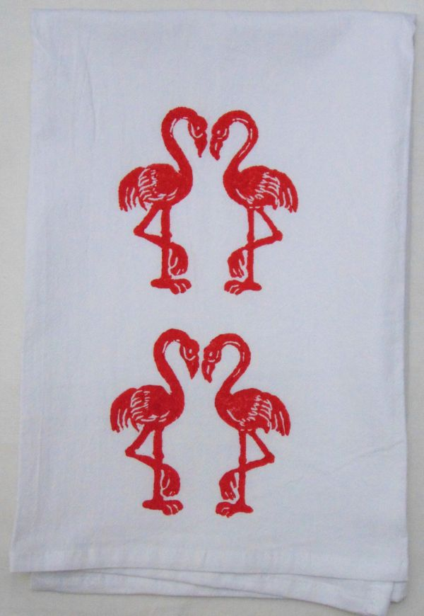 kissing flamingo towel