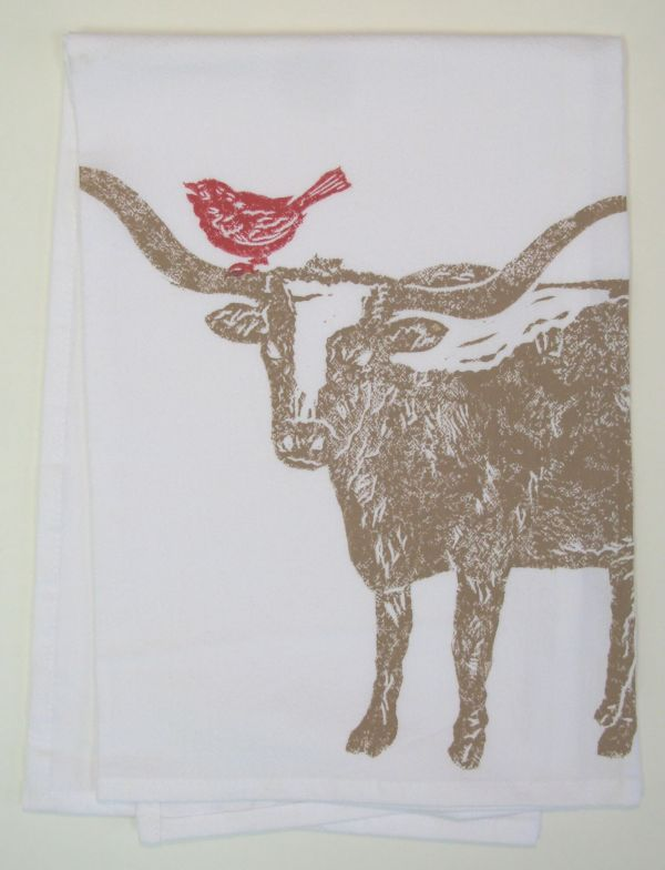 longhorn with bird towel
