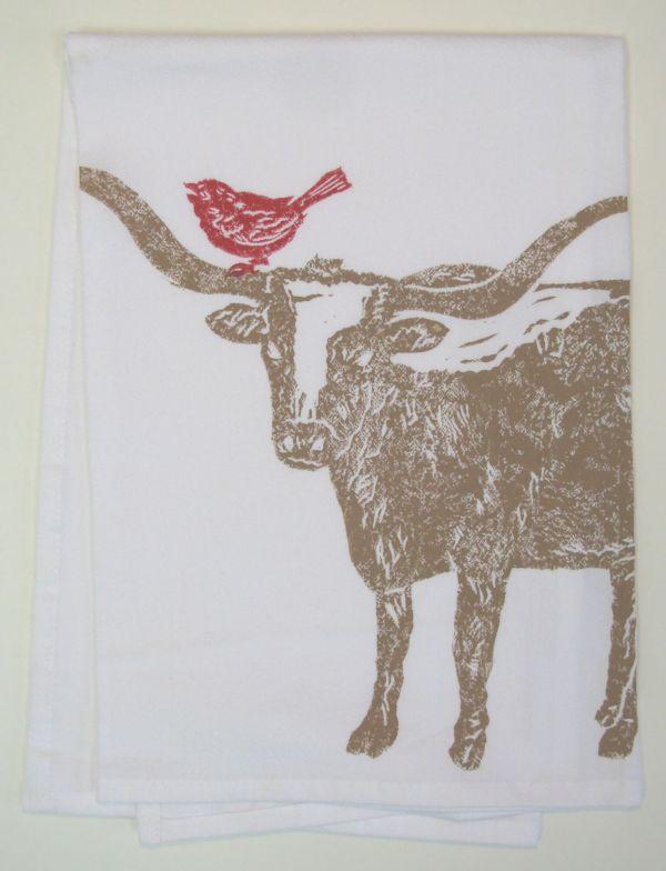 longhorn with bird towel